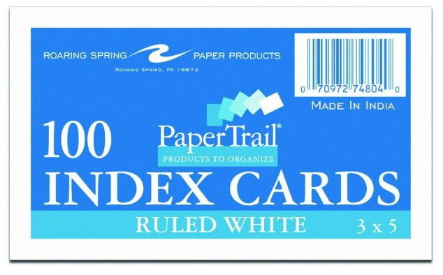 "Image For Index Cards - 3"" X 5"" - Ruled"